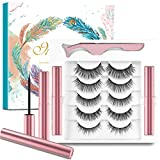 Faux Cils Magnétique Eyeliner Kit,5 Paires De Cils Magnétique,3D Naturel Faux Cils,Cils Magnétiques avec Eye-liner,Imperméable et sans Colle Requise, Cils Magnétiques 3D Réutilisables et Pincettes
