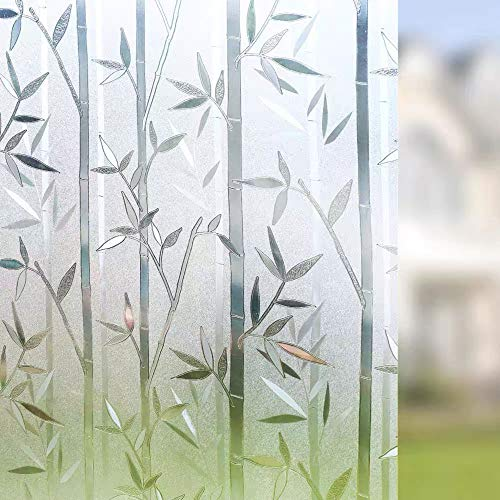 Película de privacidad Opaca esmerilada de Madera de bambú de Cristal Pegatina de Vidrio autoadhesiva electrostática película...