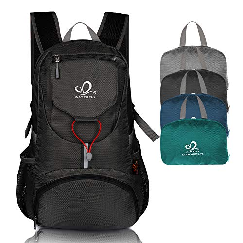 Waterfly Packable Backpack Daypack for Men Women 20L Lightweight Water Resistant Travel Hiking Daypack (Black)