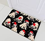 taquxinlaowan Santa Hat Puppies Pugs Impermeable Tela Cortina de Ducha Set Baño Decoración