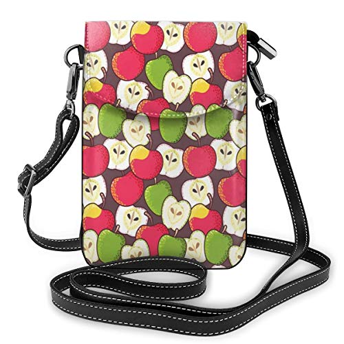 Women Small Cell Phone Purse Crossbody,Abstract Red And Green Varieties Of Winter Fruits Juicy Vitamin Sources Fresh Food