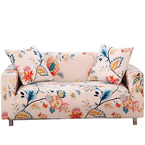 No/Brand Stretch Sofa Slipcover Elastic Sofa Covers with 2 Free Pillowcase Covers Protecting Sofa Suitable for Love Seats/Sofas/Sectional Couches (Cleome Spinosa, 4 Seats 235-300cm(92.5-118.1 inch))