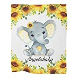 Personalized Elephant Watercolor Sunflower Floral Baby Blanket with Name for Girls Boys Custom Nursery Kids Blankets for Baby Shower Birthday Gifts Customized Baby Throw Soft Fleece 30 x 40 inch