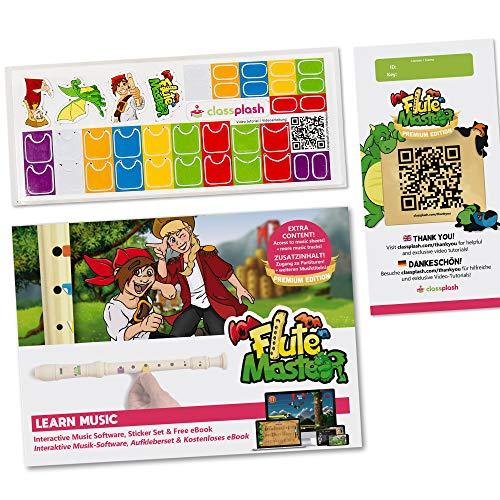 Blockflöte Lernen für Kinder: Premium Flute Master App-Lizenz, Digitales Buch (E-Book) und Sticker-Set - Innovatives Lernsystem für den schnellen Einstieg