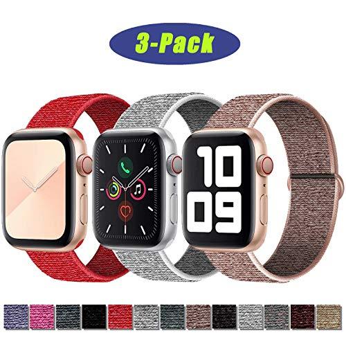 SSEIHI Kompatibel mit Apple Watch Armband 42mm 44mm,Soft Sport Loop Leichter Atmungsaktiver Nylon Armband Für die iWatch Serie 5/4/3/2/1, Sport+, Edition,Pink/Seeshell/Red