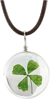 FM FM42 Dried Leaves Lucky 4-Leaf Clover in Glass Ball Pendant Necklace FN4010