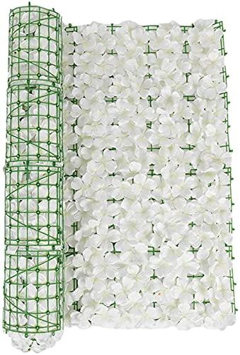 Siepe Artificiale,Schermo per recinzione privacy di finta edera, pannelli di siepi artificiali con fiori, pannelli di copertura dello schermo per la privacy di recinzione di foglie di edera artificial