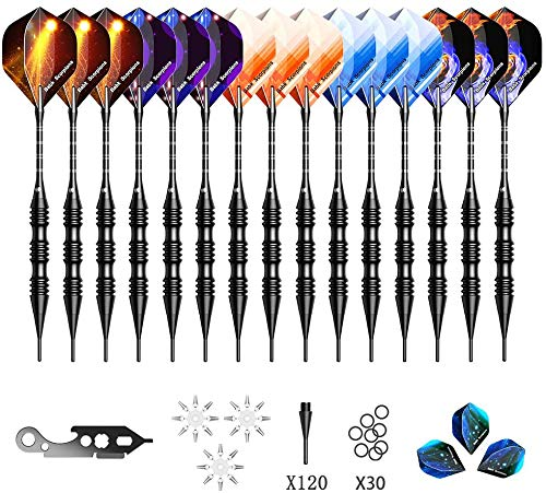 UZOPI Soft Tip Darts 20 Gram 15 Packs - Darts Plastic Tip Set for Electric Dart Board, Aluminum Shafts & Barrels, with Extra 120 Plastic Tips & 3 Flights, Tool Kit, Flight Protectors & Storage Bag