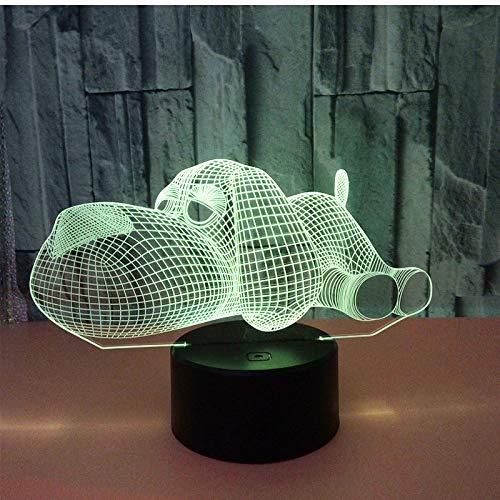 MCJDF 3D-LED-nachtlampje Prostrate op de hond in de grond met 7 lichtkleuren voor de decoratie van het huis, lamp geweldige visualisatie