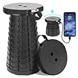 Portable Telescoping Stool with 4400mAh Phone Charger,Max Load 400LB Charging Retractable Folding Stool,Collapsible Telescoping Stool,Lightweight Sturdy Camping Stool for Outdoor