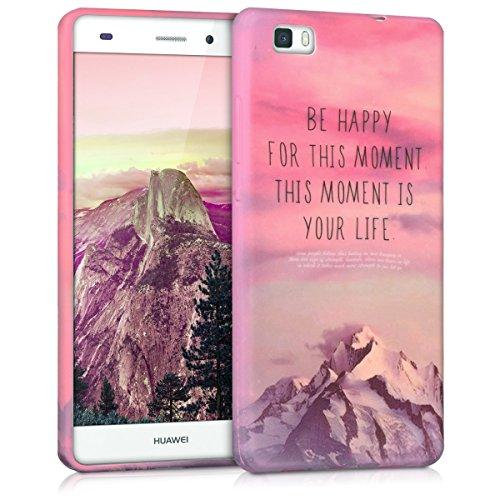 kwmobile Funda para Huawei P8 Lite (2015) - Carcasa de TPU para móvil y diseño Be Happy en Rosa Claro/Violeta/Coral
