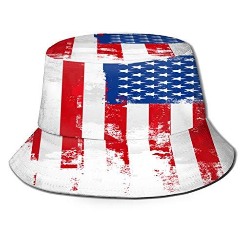 YZBEDSET Fischerhut,Farbroller amerikanische Flagge,Unisex Sonnenhut Bucket Hat Anglerhut Fishermütze Outdoor Faltbar Cap