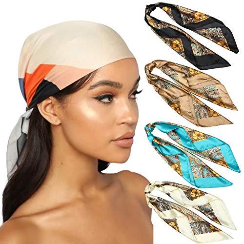 WELROG 90 x 90 cm, bufandas cuadradas grandes para mujer, 4 unidades de seda como bufandas para la cabeza, bufandas para el pelo, bufandas para el cuello, bufandas para dormir