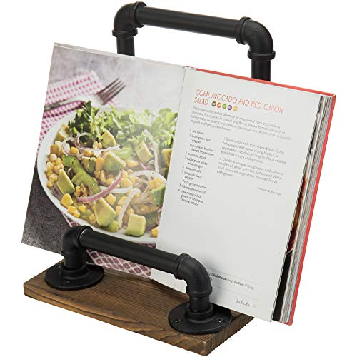 MyGift Rustic Industrial Metal Pipe and Burnt Brown Wood Cookbook Holder Kitchen Recipe Stand