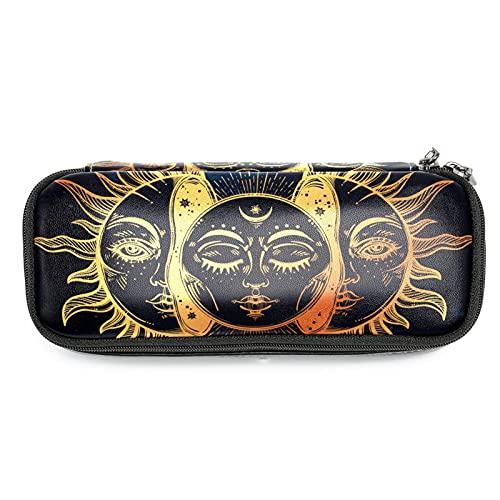 Celestial Moon and Sun - Estuche para lápices con diseño de caras, gran capacidad para rotuladores, bolsa organizadora de maquillaje, bolsa para escuela, oficina, adulto y niña
