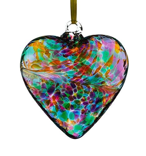 Sienna Glass HR8MUTU Friendship Heart, Multicoloured Turquoise, Small