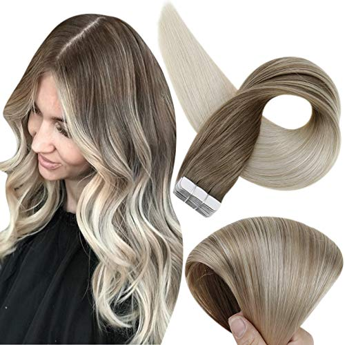 Tape In Hair Extensions Human Hair Fshine Balayage Real Hair Extensions Double Sided 16 Inch Dip Dyed Color 8 Ash Brown Fading To 60 Platinum Blonde Tape in Extensions 50 Grams 20 Pcs