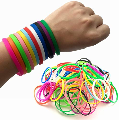 M.best 120 Pieces Rubber Bracelets Neon Jelly Elastic Silicone Stretch Wristbands for Kids Party Favors