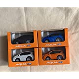 トヨタ AQUA プルバックミニカー 白、青、オレンジ、アメジスト