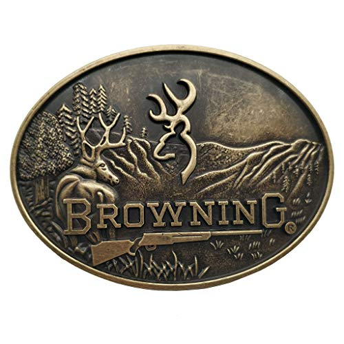 Xwest Hebilla de cinturón Browning Buckmark Belt Buckle Bronze Color Deer Country Hunting Fishing