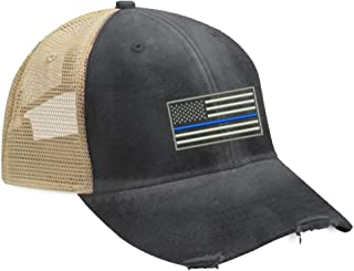 Blue Line Trucker Hat with Snapback Enclosure