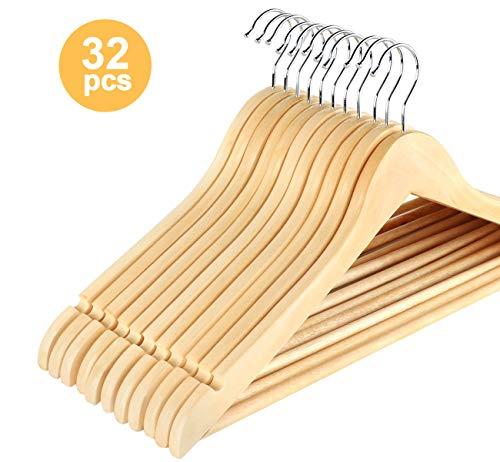 ABSOFINE 32 Cintres en Bois Crochet Couleur érable pivotant à 360° avec Barre Antidérapant pour Vêtements 44.5cm