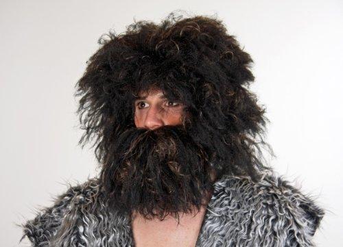 Festartikel Müller Bart zum Kostüm Steinzeitmensch Räuber schwarz-braun zu Karneval