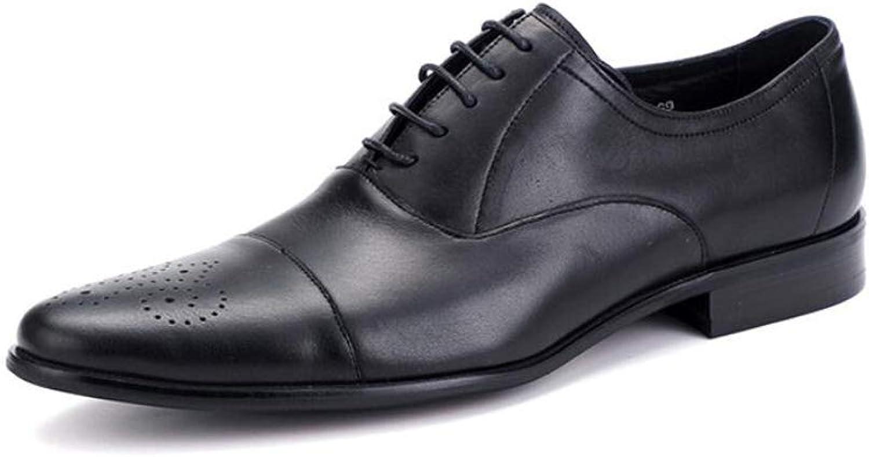 KTYXGKL Handsome läder Handsome Mans Mans Mans skor Two Joint With Business skor Stylistskor Bär herrskor (färg  svart, Storlek  42 EU)  kvalitetsgaranti