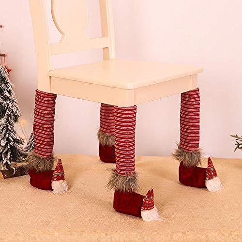 GFFGA Funda para pies de Pierna de Silla de Navidad para Hombre del Bosque, Funda de Lino para pie de Mesa, Protector Antideslizante para Silla, Calcetines, decoración de Navidad