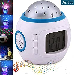 Aulley Kids Alarm Clock Sky Star Night Light Projector Lamp Bedroom Unique Clocks with Music Backlight Calendar Thermometer Birthday Toy for Kids Children Baby Infants Boys Girls