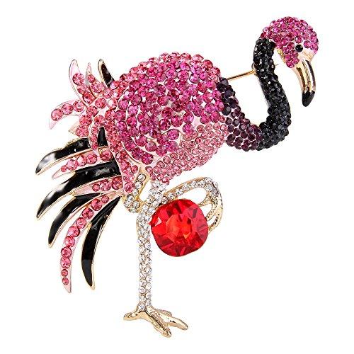 EVER FAITH Broche para Mujer Cristal Austríaco Esmalte Elegante Flamingo Ave Color Fucsia Tono Dorado