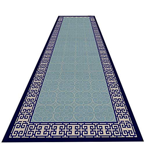 ZHANGXY Alfombras De Pasillo Alargadas Suave Y CóModo Manta SóLida ImpresióN 3D Simple Y Elegante Porche Delantero,Espesor 0.7Cm, 28 TamañO,Blue-0.8×2m