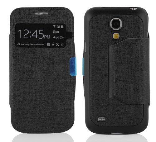 Cadorabo Hülle für Samsung Galaxy S4 Mini - Hülle in Oxid SCHWARZ – Handyhülle im View Design mit Sichtfenster - Case Cover Schutzhülle Etui Tasche Book Klapp Style