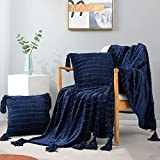 Exclusivo Mezcla 3-Piece Tassel Fringe Striped Fleece Throw Set, Chenille Fringes Throw Blanket with 2 Throw Pillow Covers( 50x60/18x18 Inches, Navy Blue)- Soft,Lightweight and Decorative