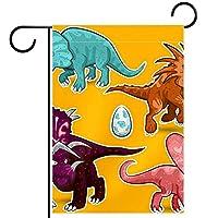 ガーデンヤードフラッグ両面 /28x40in/ ポリエステルウェルカムハウス旗バナー,恐竜ファミリー