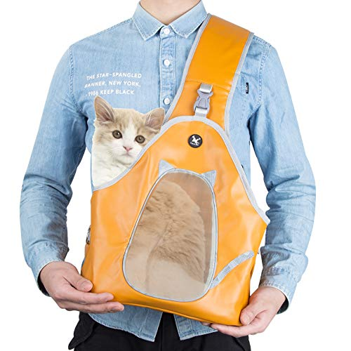 Geegoods Pet Front Backpack Carrier,Sling Carrier for Small Dog Cat with Breathable Mesh Adjustable Shoulder Strap&Belt, Comfy Removable Base,Safety Bag for Small Pet