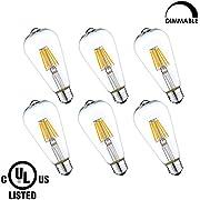 LightStory LED Filament Bulb ST19 6W, Clear LED Edison Bulb, 60W Equivalent , E26 Base, 2700K, Dimmable LED Bulb, UL Listed (6 Pack)