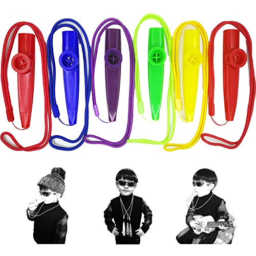 Fartime 6Pcs Plastic Kazoos With Lanyards,Musical Instruments,Good Gift for...