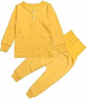 33297a141e Mary ye Boy Girl Solid Pajamas Set Kids 100% Cotton 2 Pcs Sleepwear Clothes  Set
