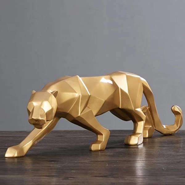 Statues Figurines Sculptures Nordic Abstract Panther Sculpture Geometric Leopard Statues Wildlife Animal Decor Ornament Home Decoration Accessories