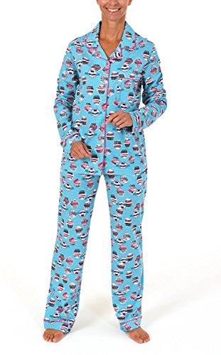 Normann Damen Pyjama lang mit Cupcake-Alloverdruck und durchknöpfbar 261 201 90 104, Größe:44/46;Farbe:türkis