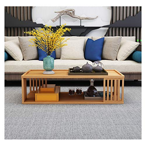 FEANG Coffee Table Modern Double-layer Solid Wood Coffee Table Home Bedroom Pine End Table Side Table Living Room Sofa End Table Side Table (Color : Dark sandalwood)