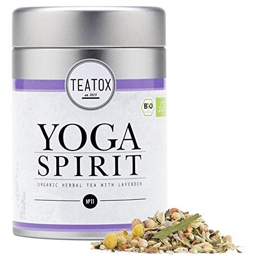 Teatox Bio-Kräutertee YOGA SPIRIT für innere Gelassenheit | loser Tee aus 11 Gewürzen, mit Lavendel, Hanf & Fenchel, koffeinfrei | 100% biologisch & vegan, ohne Aromen & Zusätze | 60g in der Dose