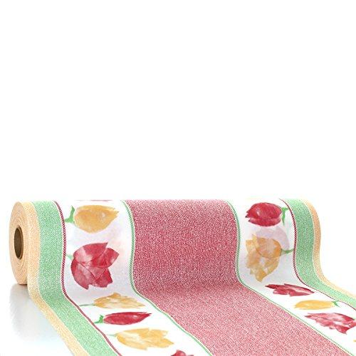 Vlag HORECA tafelloper Heike | Linclass® Airlaid tafelloper 40cm x 24m | tafelkleden op rol van stof | wegwerptafelkleed voor bruiloft en feestjes rood-groen