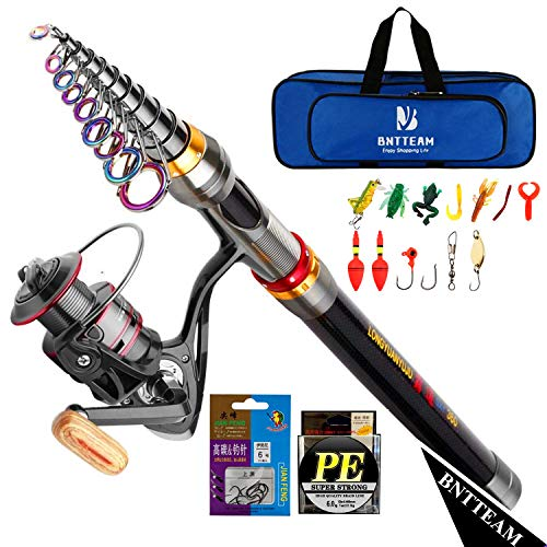 BNTTEAM Mulinello da Pesca e Asta Combos telescopica Portatile Resistente, al 99% al Carbonio, Sea Fishing Rod & Reel+Esche Artificiali+Set di Lenza da Pesca (Set Completo/2.1M/82.6in/6.88ft)