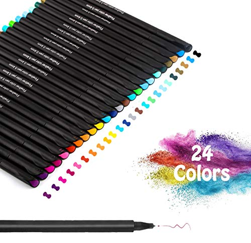 Rotuladores de punta fina, Juego de Bolígrafos de Color Vakki Fineliner Plumas, 0.4 mm Pluma de Punta de fieltro de 24 Colores para Bullet Journal Note Taking Adult Coloring Books Pintura Dibujo
