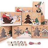 MAMUNU 12 Stück Weihnachts-Kekskästen Boxen, Keksdosen mit Fenster buntes Muster mit Aufkleber und Seil, für Weihnachtsfeier Brownies Süßigkeiten Kekse, 22.5x15.5x7CM