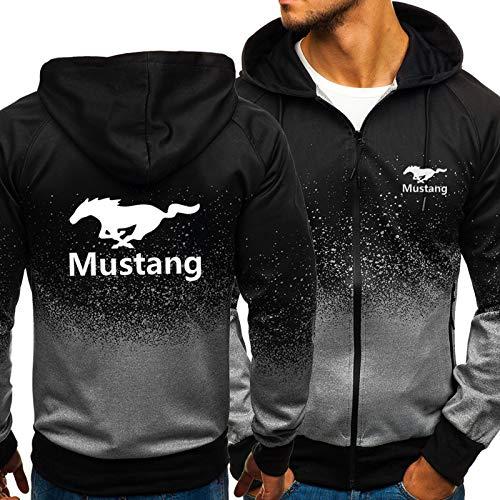 Herren Hoodie Für Mustang 3D Print Mit Kapuze Sweatshirt Beiläufige Sportjacke Langarm Full Zip Mantel - Geburtstagsgeschenk Black-Large