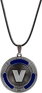 Ginkago Game Fan Art V Bucks Necklace Best Gifts V-Bucks for Boys Girls Kids Game Lovers (Blue)