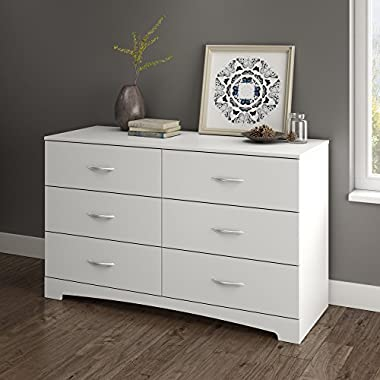 South Shore Step One 6-Drawer Double Dresser, White with Matte Nickel Handles